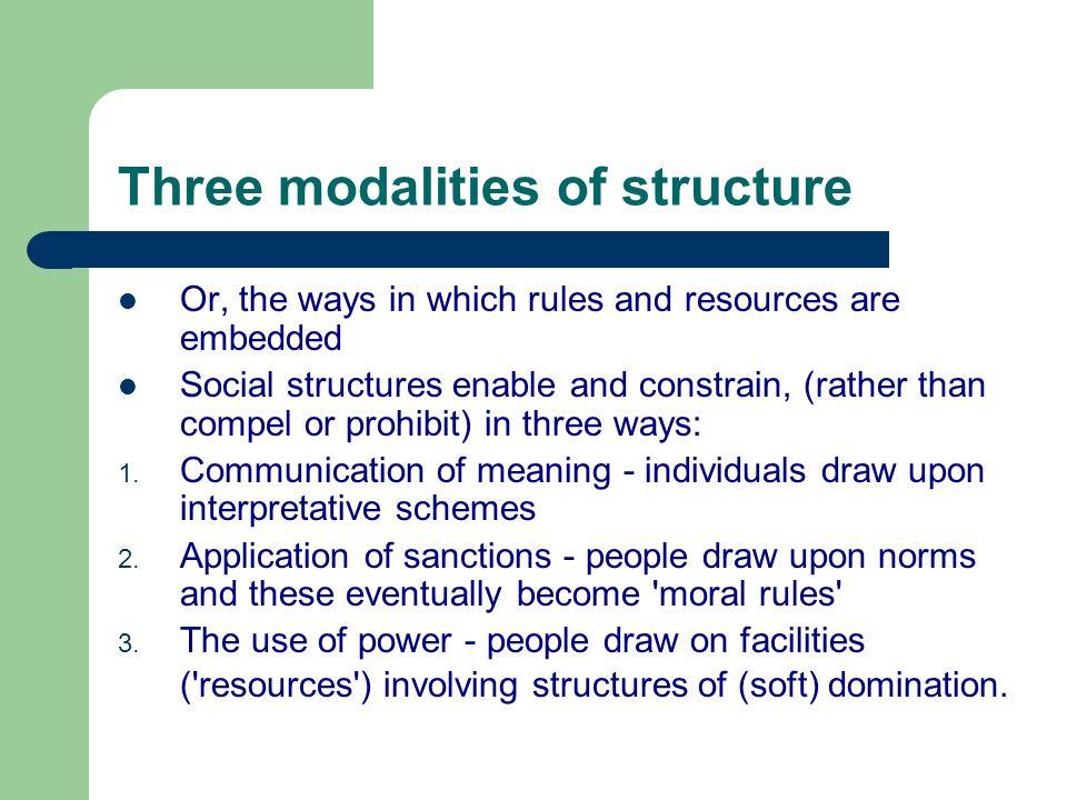 Three modalities of structure