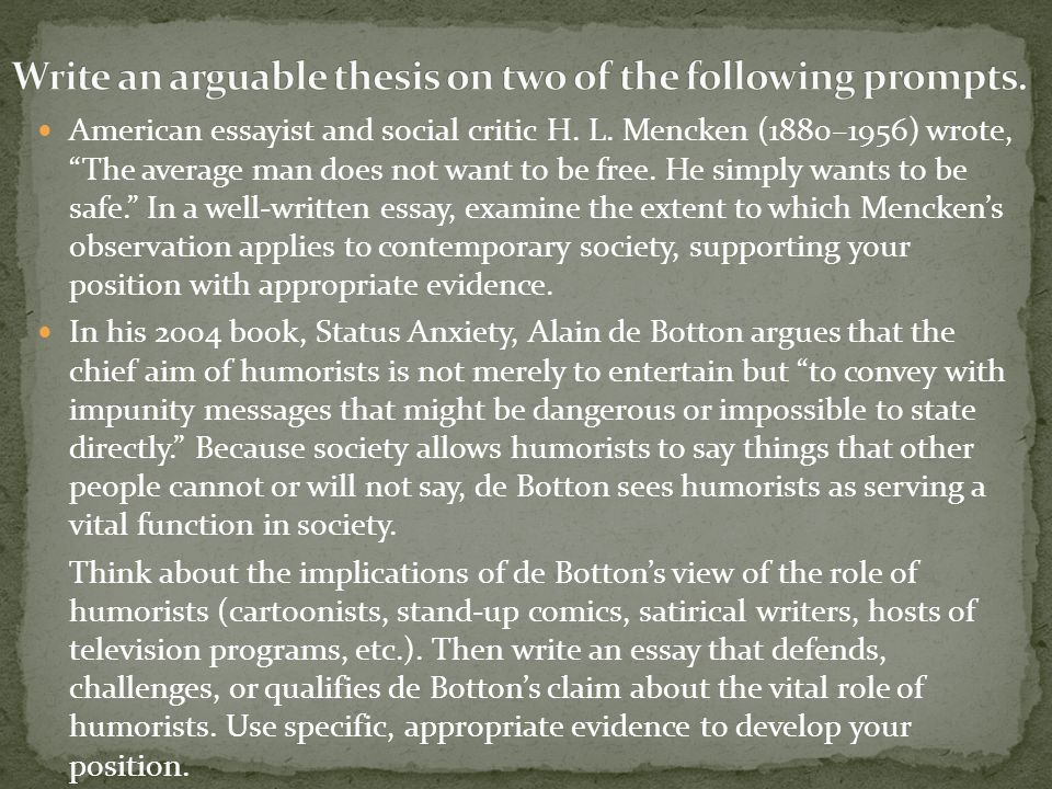 Write An Arguable Thesis On Two Of The Following Prompts  Ppt  Write An Arguable Thesis On Two Of The Following Prompts