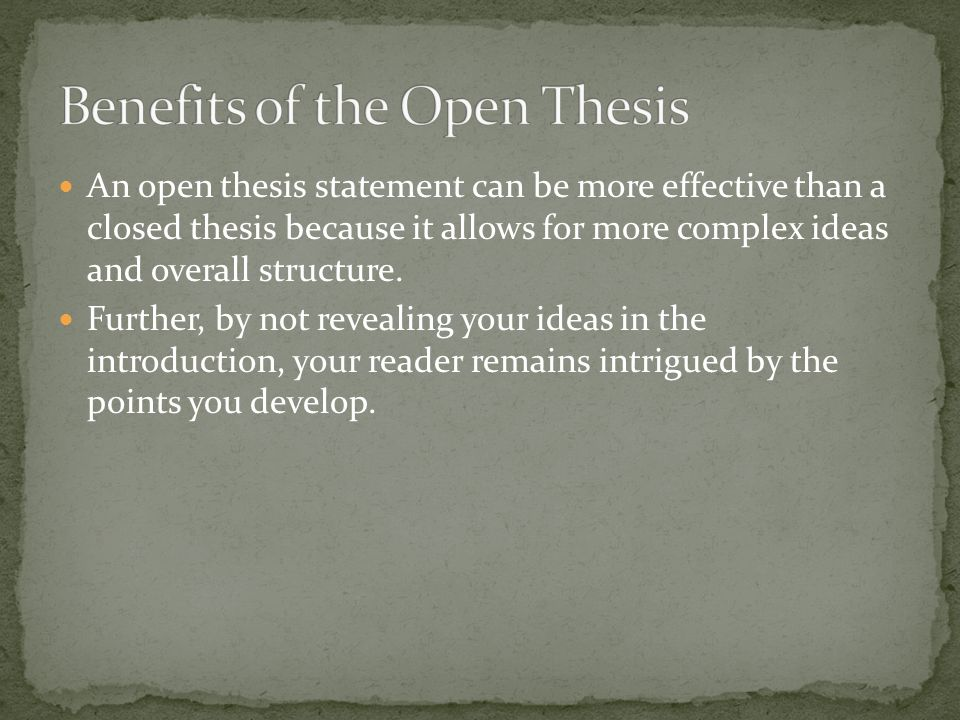 Open thesis statement