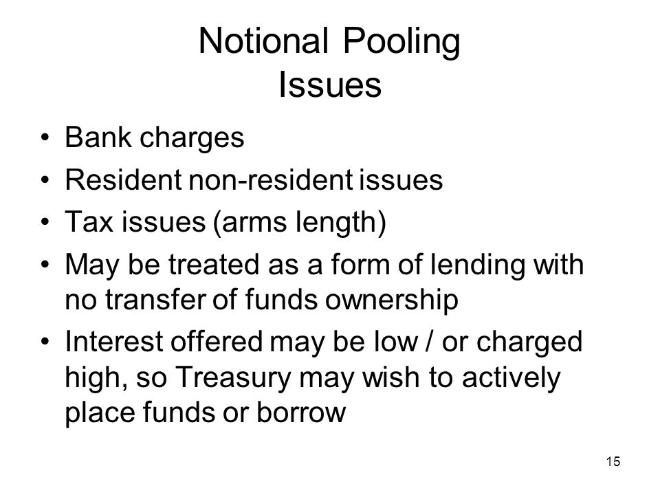 Notional Pooling Issues