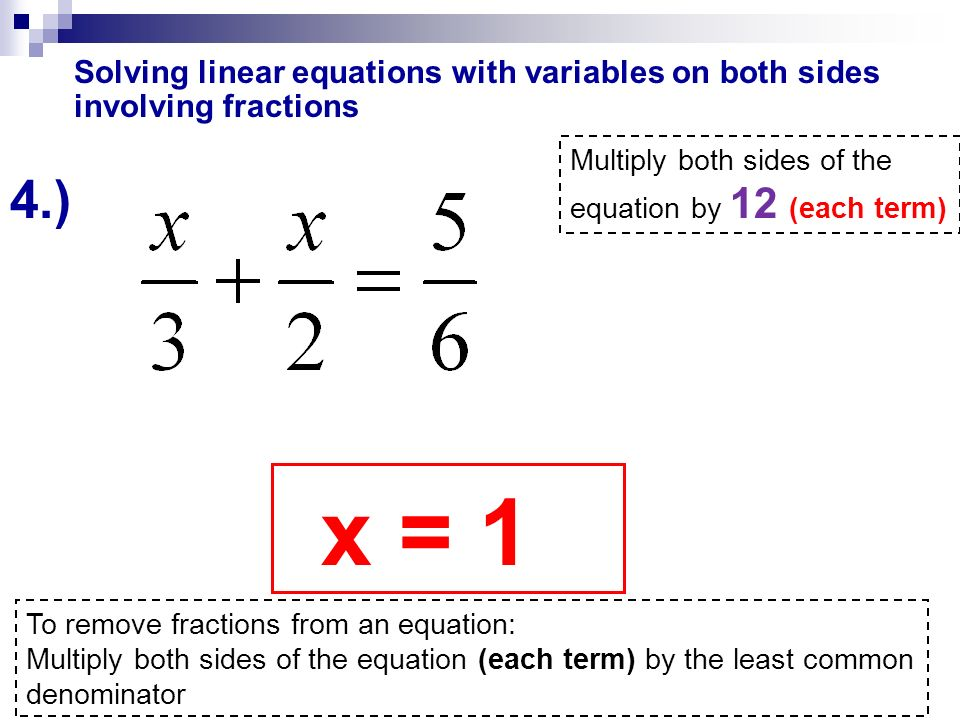 how to solve simple linear equations with fractions