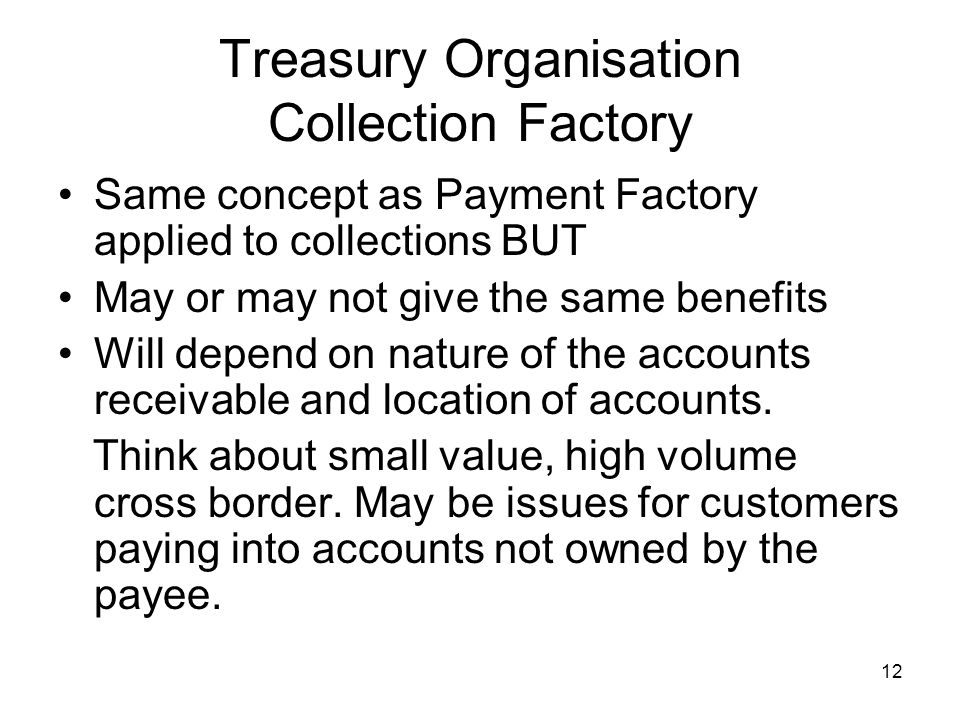 Treasury Organisation Collection Factory
