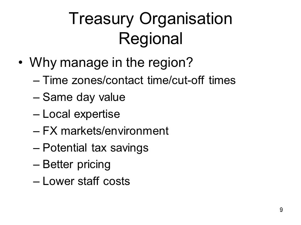 Treasury Organisation Regional