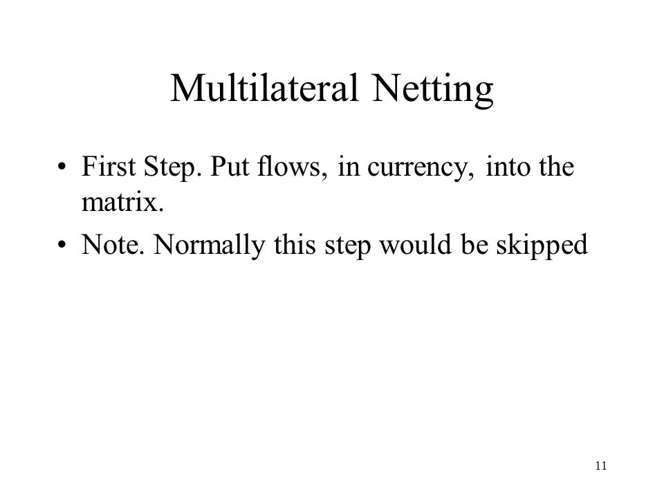 Multilateral Netting First Step. Put flows, in currency, into the matrix.