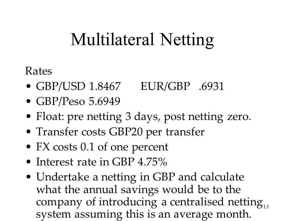 Multilateral Netting Rates GBP/USD 1.8467 EUR/GBP .6931