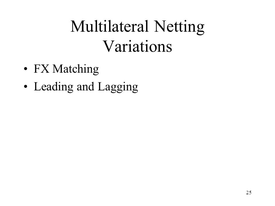 Multilateral Netting Variations