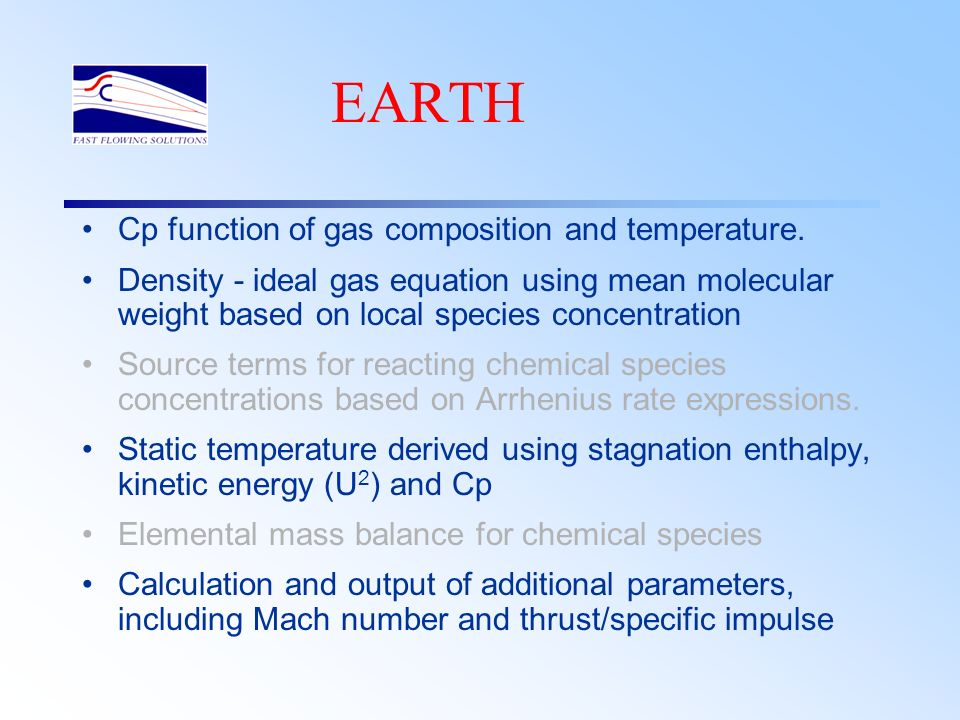 EARTH Cp function of gas composition and temperature.