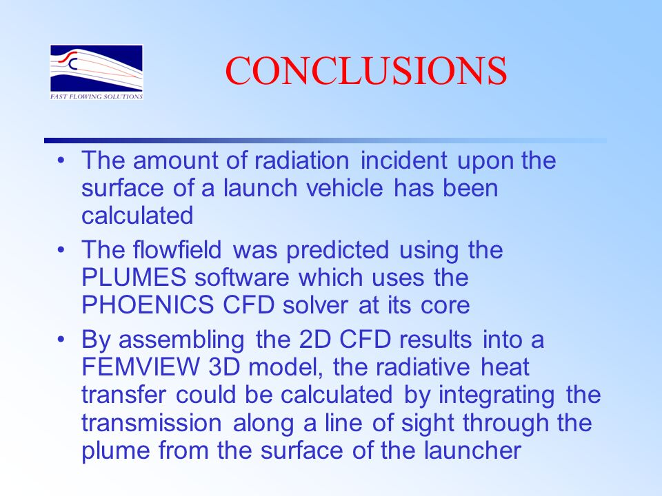 CONCLUSIONS The amount of radiation incident upon the surface of a launch vehicle has been calculated.
