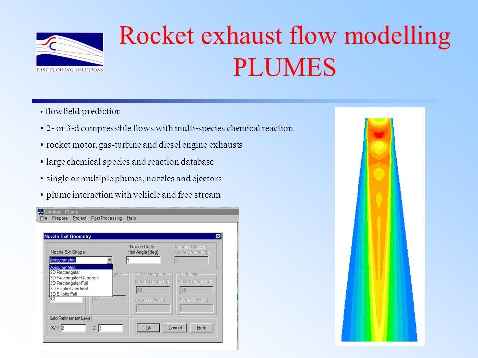 Rocket exhaust flow modelling PLUMES