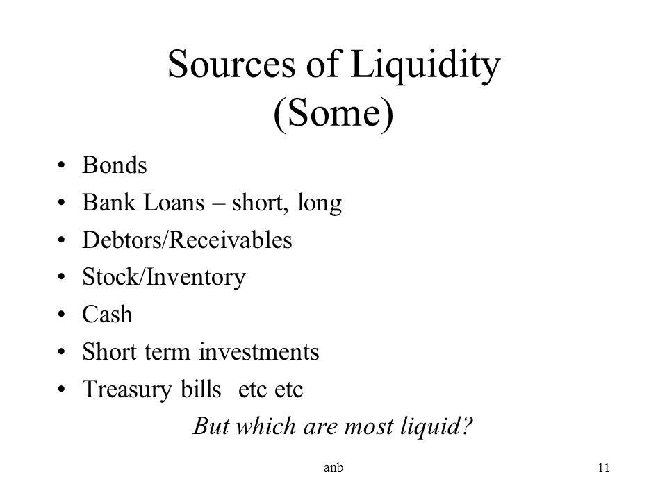 Sources of Liquidity (Some)