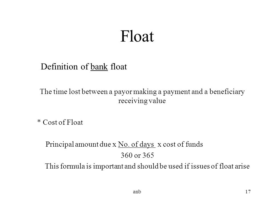 Float Definition of bank float
