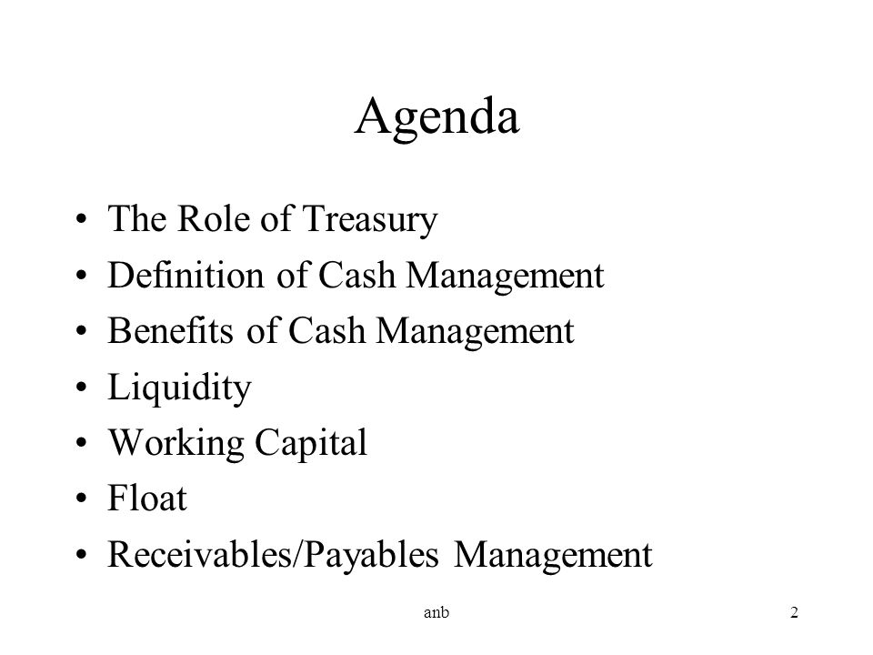 Agenda The Role of Treasury Definition of Cash Management
