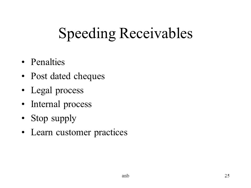 Speeding Receivables Penalties Post dated cheques Legal process