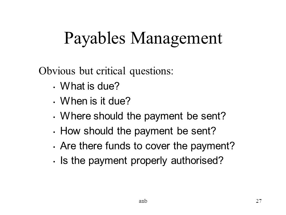 Payables Management Obvious but critical questions: What is due