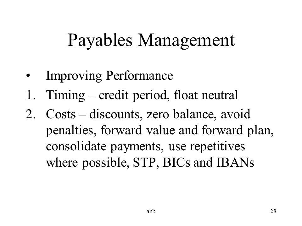 Payables Management Improving Performance