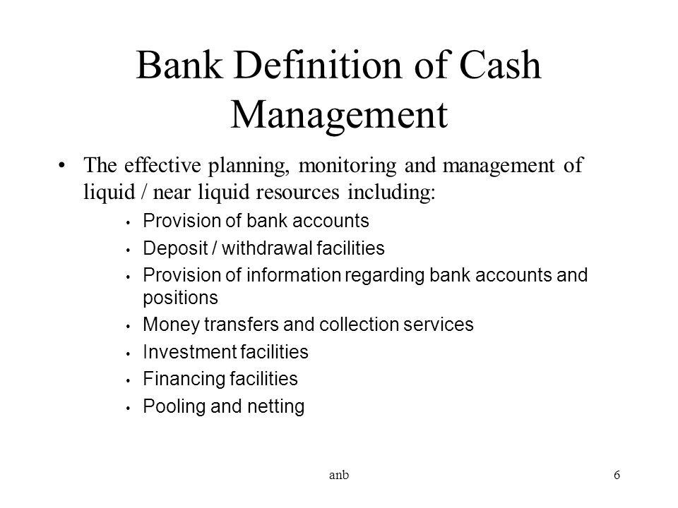 Bank Definition of Cash Management