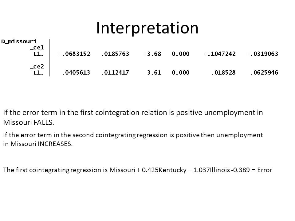 Interpretation If the error term in the first cointegration relation is positive unemployment in Missouri FALLS.