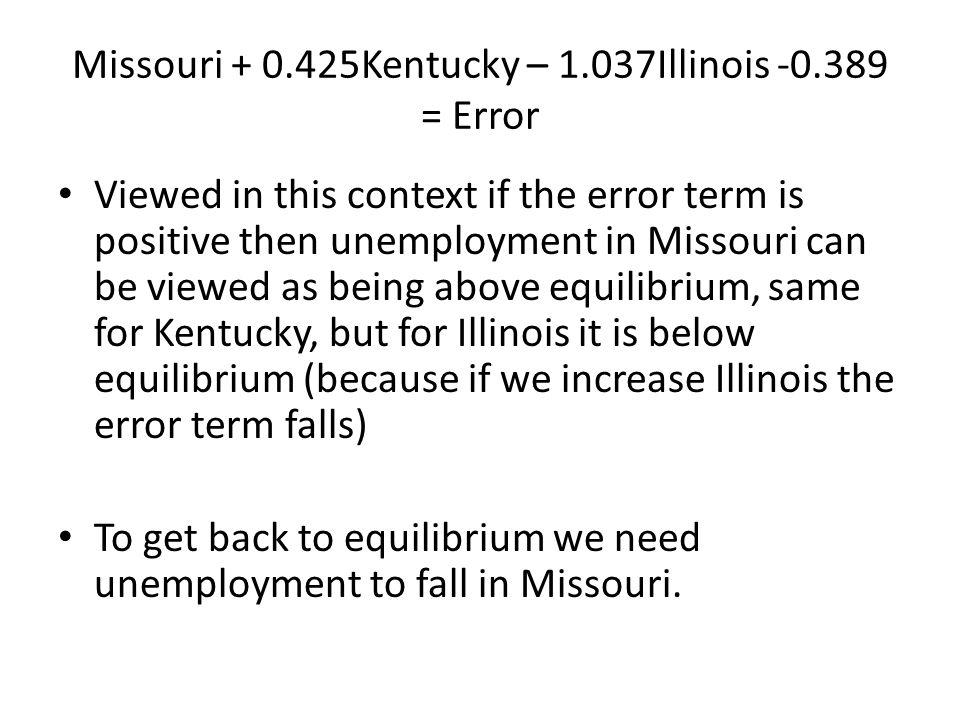 Missouri + 0.425Kentucky – 1.037Illinois -0.389 = Error