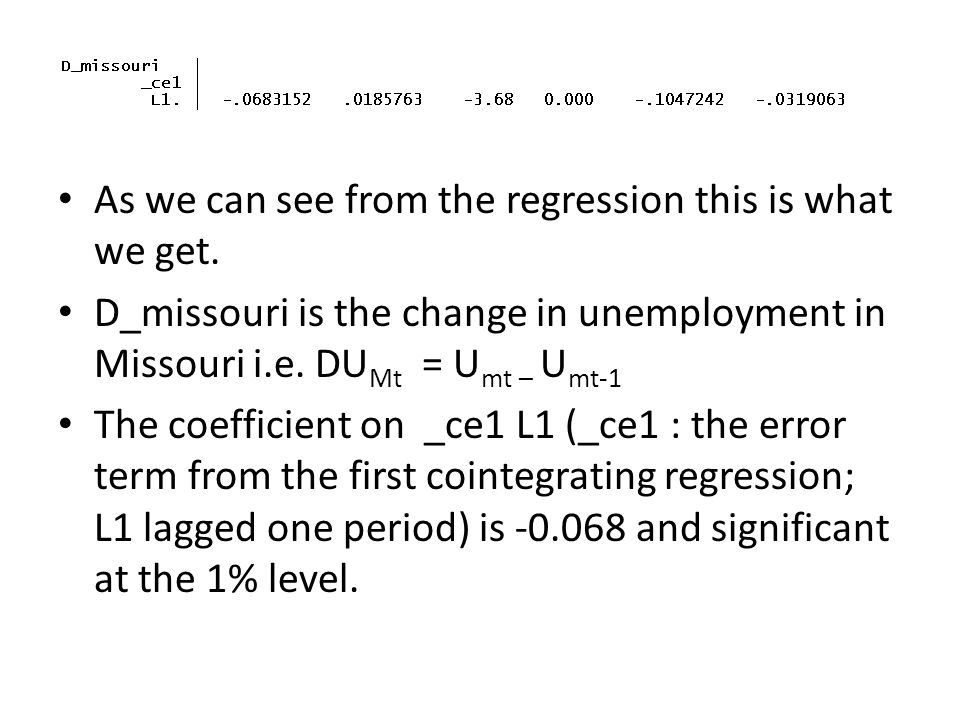 As we can see from the regression this is what we get.