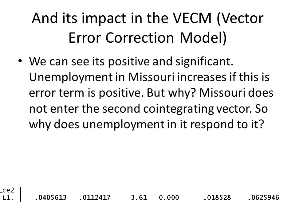 And its impact in the VECM (Vector Error Correction Model)