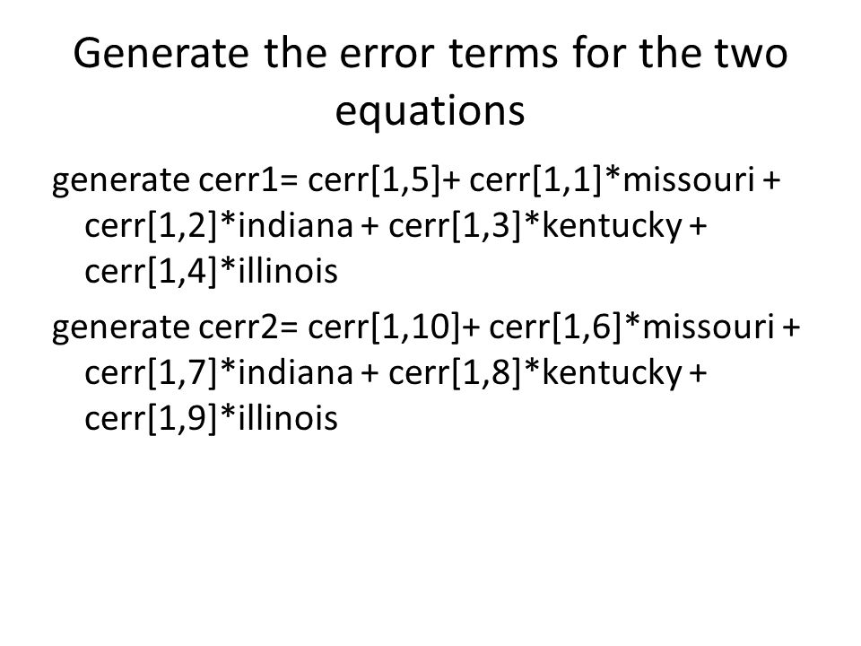 Generate the error terms for the two equations