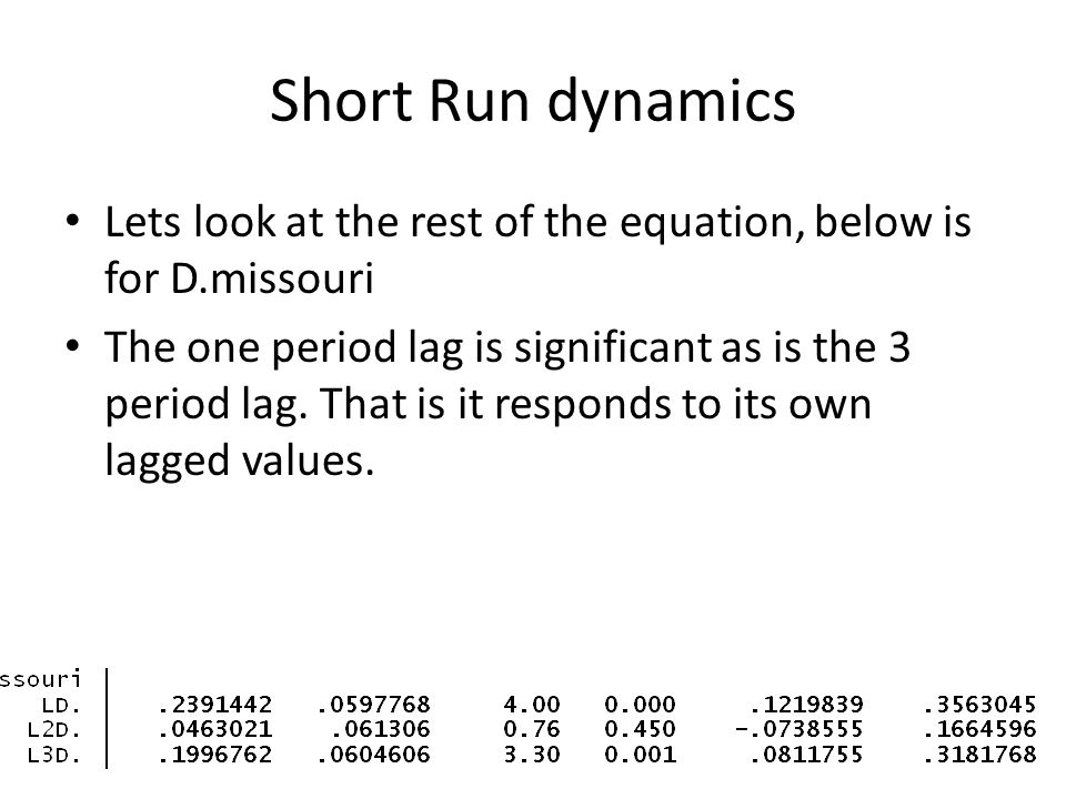 Short Run dynamics Lets look at the rest of the equation, below is for D.missouri.