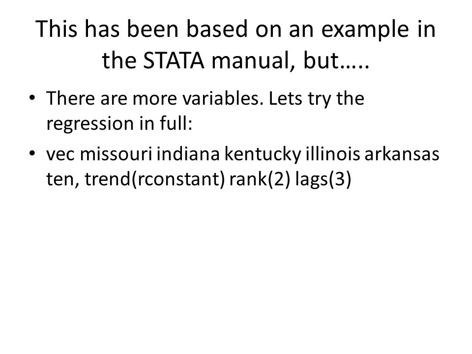 This has been based on an example in the STATA manual, but…..
