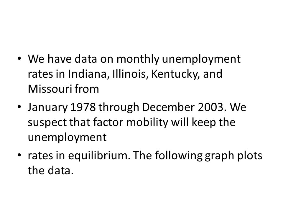 We have data on monthly unemployment rates in Indiana, Illinois, Kentucky, and Missouri from
