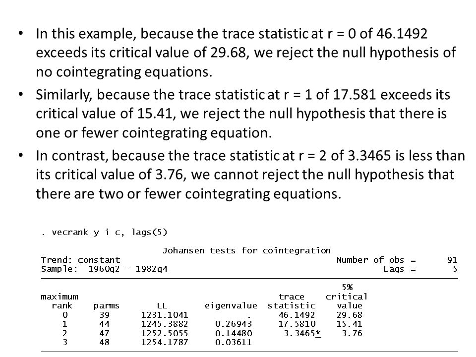 In this example, because the trace statistic at r = 0 of 46