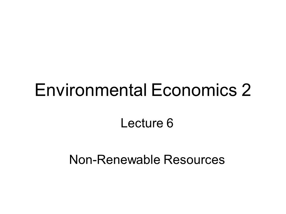 Environmental Economics 2