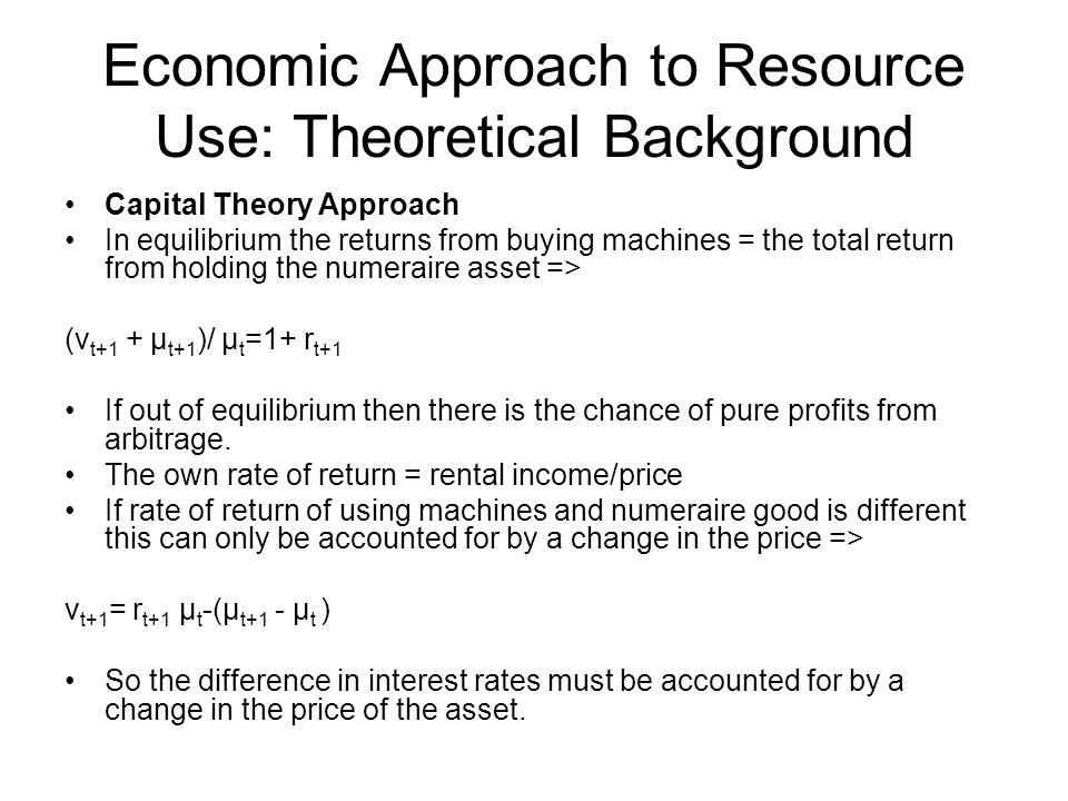 Economic Approach to Resource Use: Theoretical Background