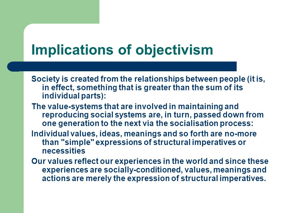 Implications of objectivism