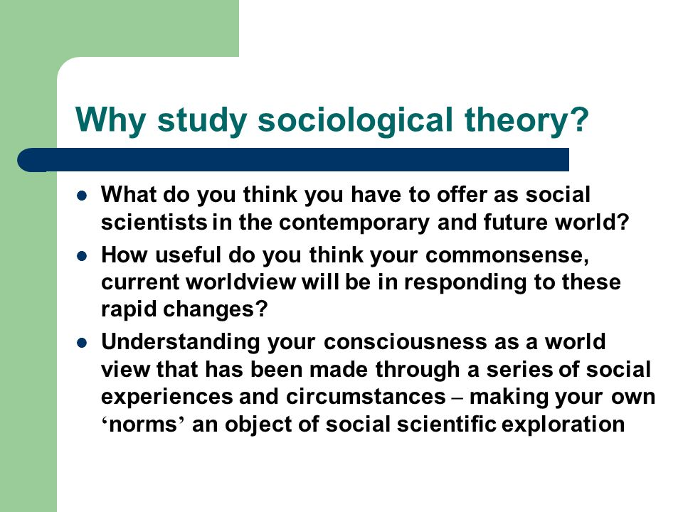 Why study sociological theory