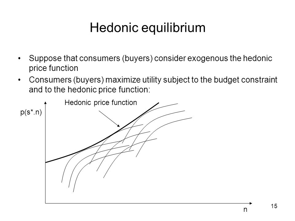 Hedonic equilibrium Suppose that consumers (buyers) consider exogenous the hedonic price function.