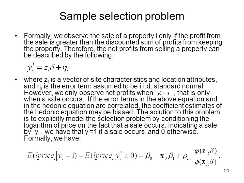 Sample selection problem