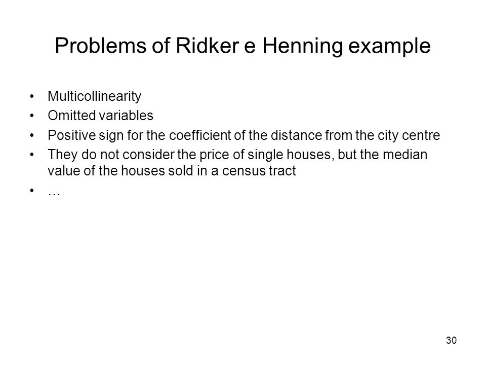 Problems of Ridker e Henning example