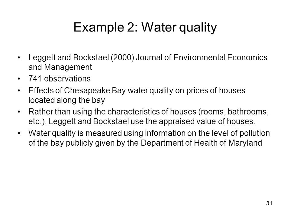 Example 2: Water quality