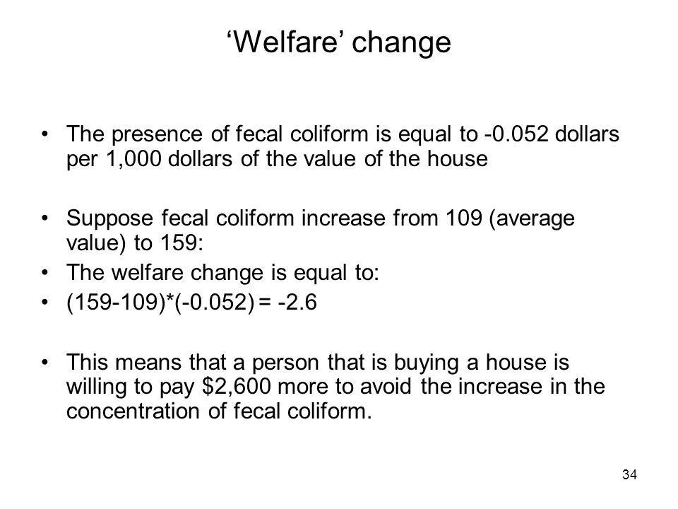 'Welfare' changeThe presence of fecal coliform is equal to -0.052 dollars per 1,000 dollars of the value of the house.