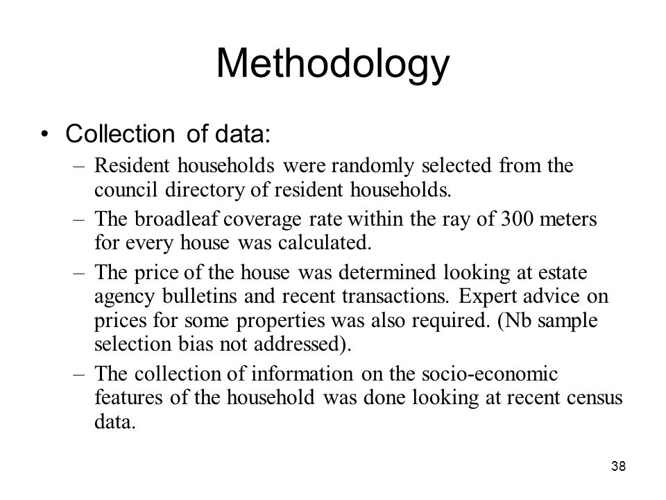 Methodology Collection of data: