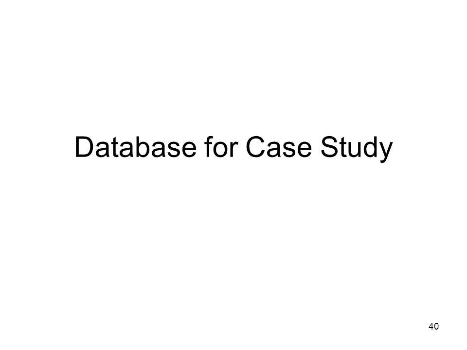 Database for Case Study
