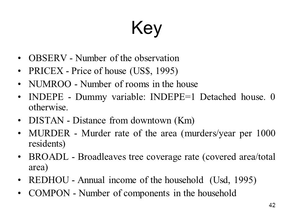 Key OBSERV - Number of the observation