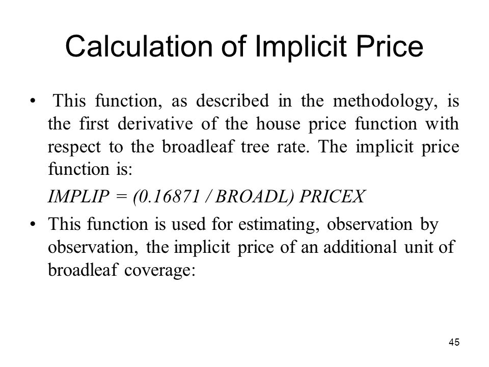 Calculation of Implicit Price
