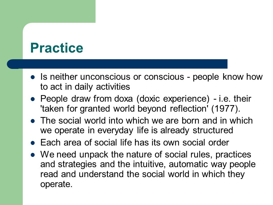Practice Is neither unconscious or conscious - people know how to act in daily activities.