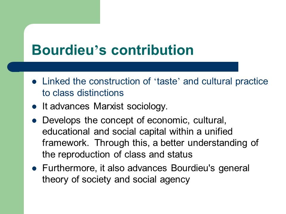 Bourdieu's contribution