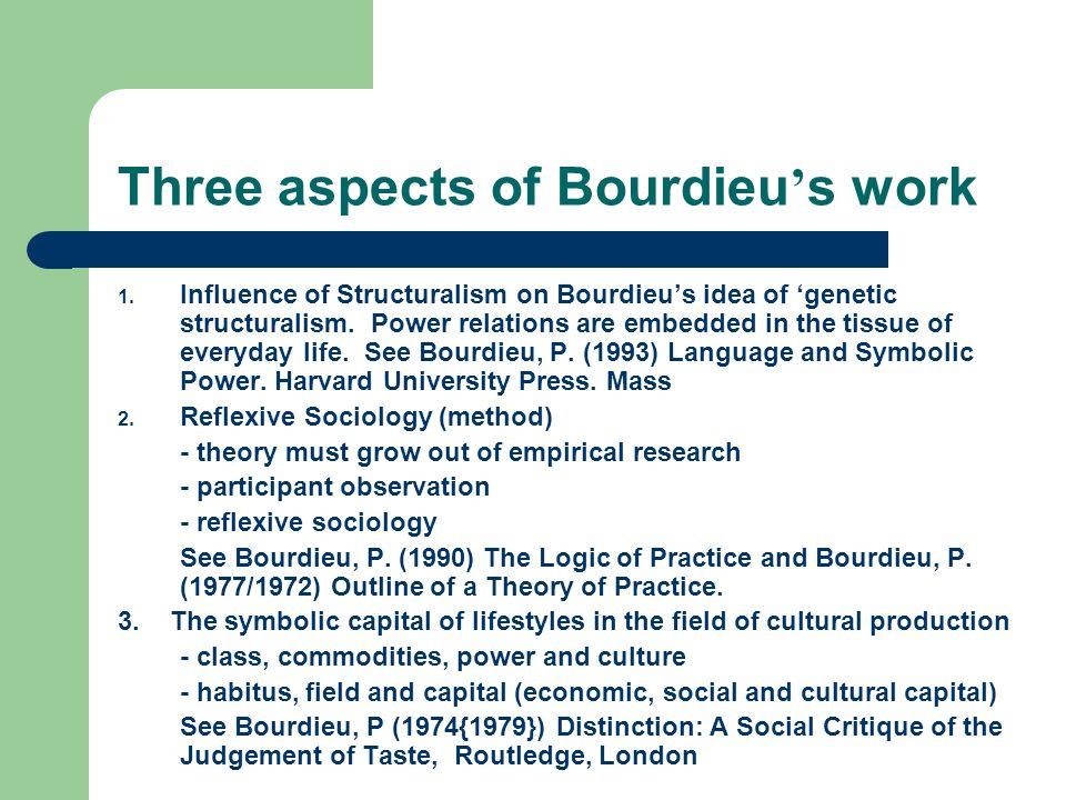 Three aspects of Bourdieu's work