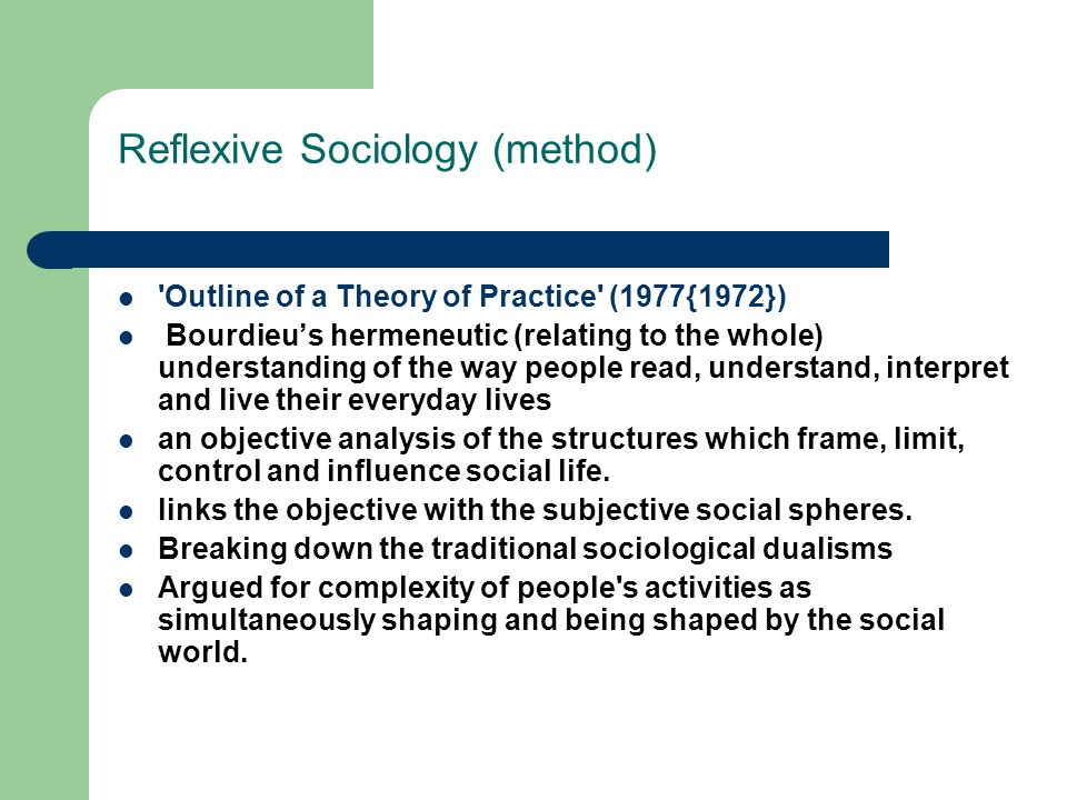 Reflexive Sociology (method)