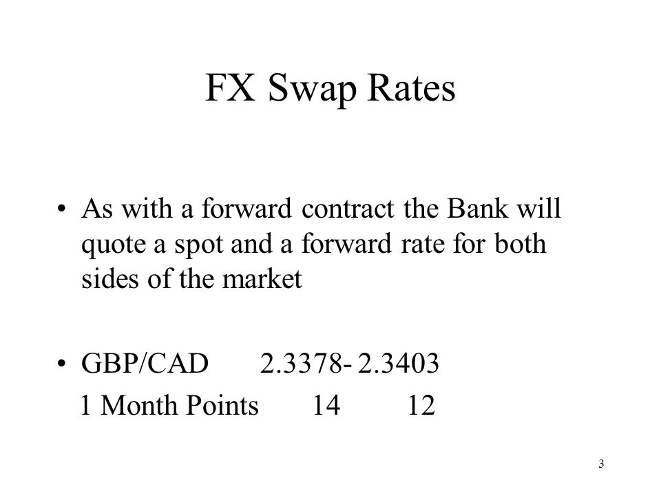 FX Swap Rates As with a forward contract the Bank will quote a spot and a forward rate for both sides of the market.