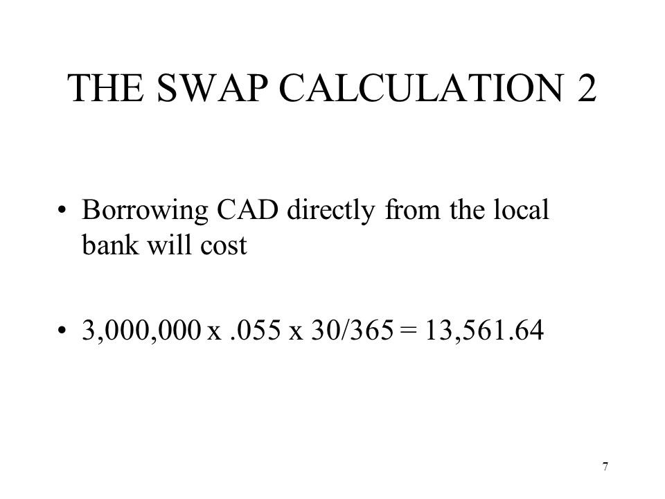 THE SWAP CALCULATION 2 Borrowing CAD directly from the local bank will cost.