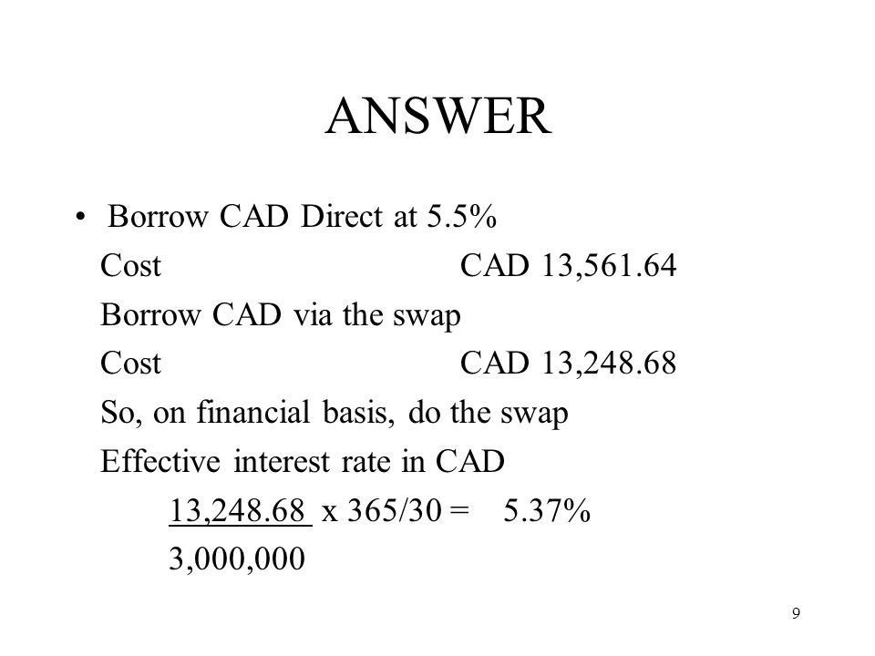 ANSWER Borrow CAD Direct at 5.5% Cost CAD 13,561.64