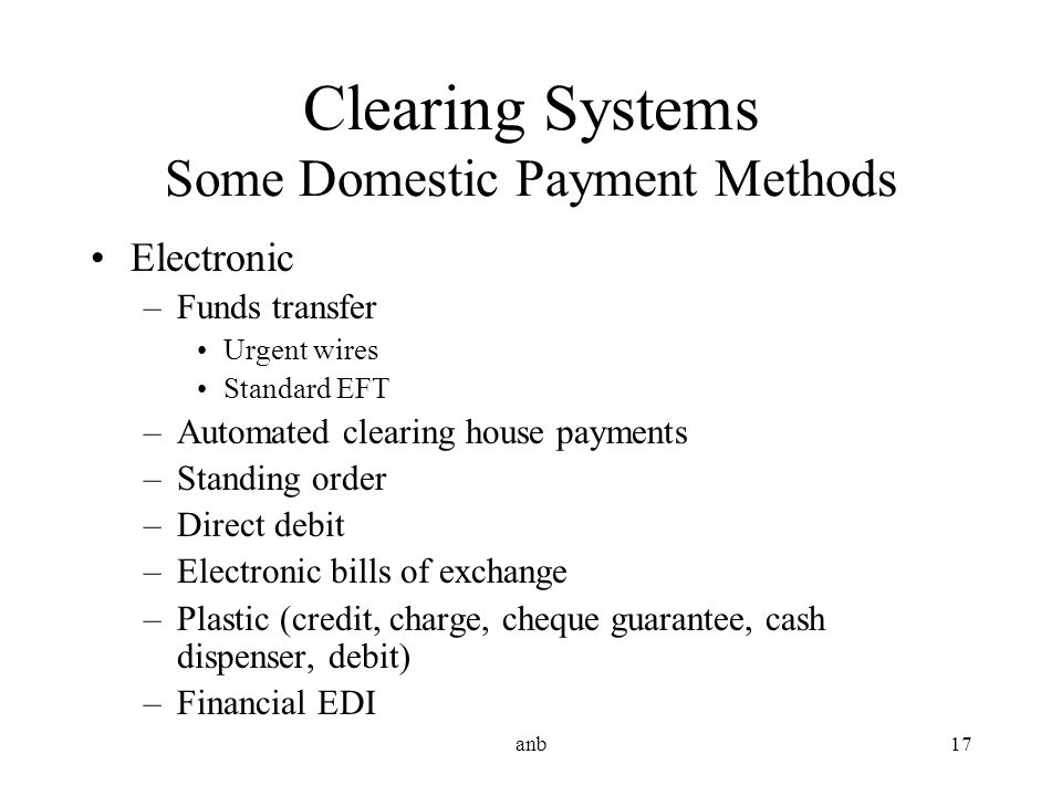 Clearing Systems Some Domestic Payment Methods
